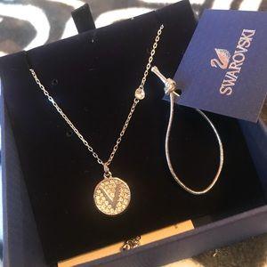 Swarovski initial necklace